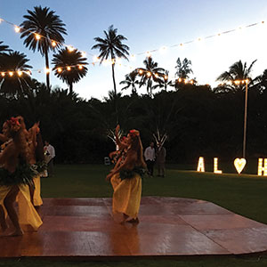 ALOHA, MAHALO, LOVE Marquee Signs & Wooden Chic Dance Floors